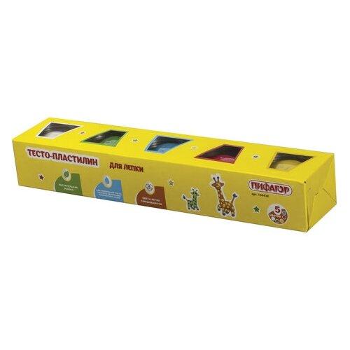 Купить Масса для лепки Пифагор 5 цветов 450г (104438), Пластилин и масса для лепки