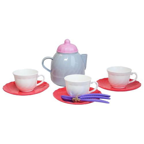 Купить Набор посуды Росигрушка Набор посуды чайный Розовый зефир ( 11 дет.) бежевый/розовый/фиолетовый, Игрушечная еда и посуда