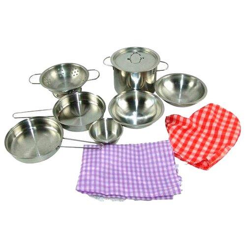 Фото - Набор посуды ABtoys Помогаю маме PT-00266 (WK-B0955) серебристый/красный/фиолетовый набор посуды для пиццы abtoys помогаю маме в ассортименте pt 00363