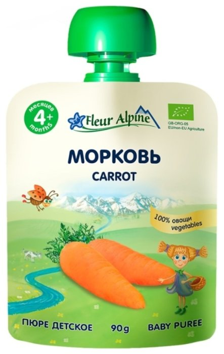 Пюре Fleur Alpine морковь (с 4 месяцев) 90 г, 6 шт