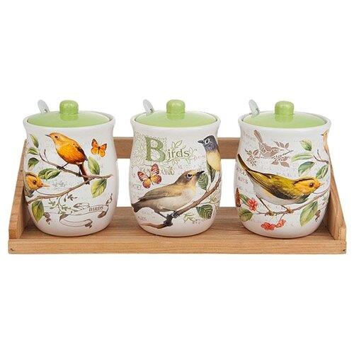 Polystar Global Art Набор банок для сыпучих продуктов Birds 3 шт. белый/зеленыйБанки для хранения<br>