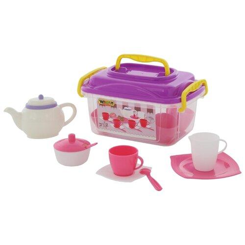 Набор посуды Полесье Алиса на 4 персоны 58980 белый/розовый/фиолетовый полесье набор игрушечной посуды алиса на 4 персоны 58980 цвет в ассортименте
