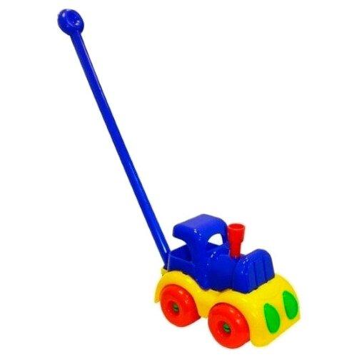 Купить Каталка-игрушка Пластмастер Паровозик Малышок (12015) синий/желтый, Каталки и качалки