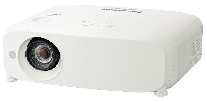 Panasonic PT-VX615NE Мультимедийный LCD проектор, 5500 люмен, 1024x768, 4:3, 10000:1, 5000 ч, пр.отн. 1.2, зум 1.6, 4.8 кг., 37 дБ, Моно 10 Вт., Wi-Fi, верт.35 гр, гор.35 гр, HDMI, VGA, RCA, MiniJack, RCAx2, USB-A, USB-B, RS232, Белый