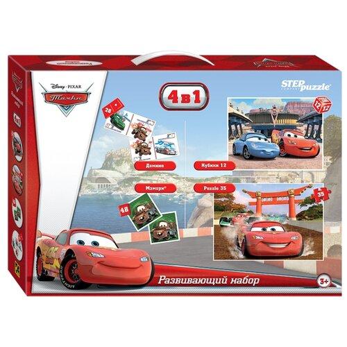 Набор настольных игр Step puzzle 4 в 1 Тачки (Disney) step puzzle пазл для малышей тачки 89122