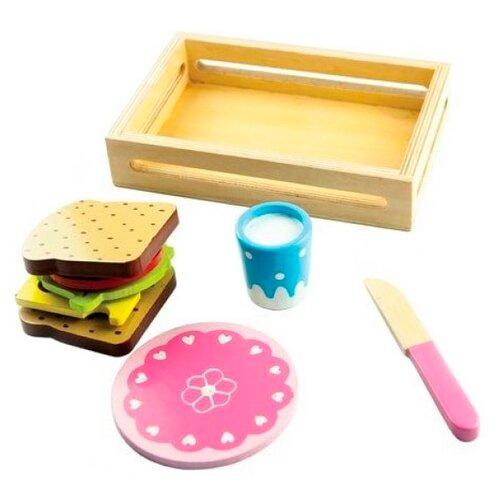 Купить Набор продуктов с посудой Mapacha Сэндвич 76706 розовый/коричневый/голубой, Игрушечная еда и посуда