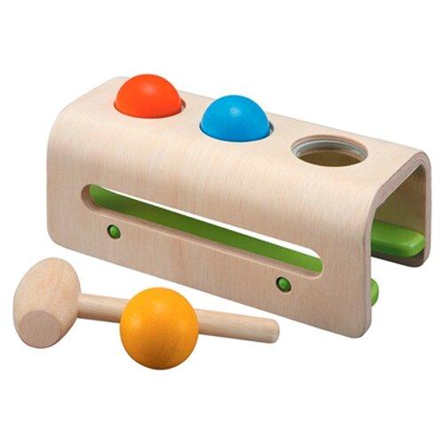 Стучалка PlanToys Забивалка с шарами бежевый/желтый/зеленый/красный/синий стучалка woodland домик 4 отверстия 115308 красный синий зеленый желтый