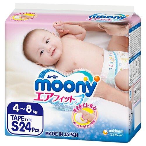 Moony подгузники S (4-8 кг) 24 шт.