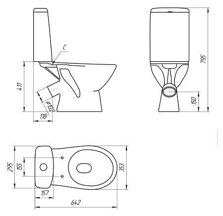 Унитаз с бачком напольный Cersanit Just KO-JUS031-3/6-PL с косым выпуском