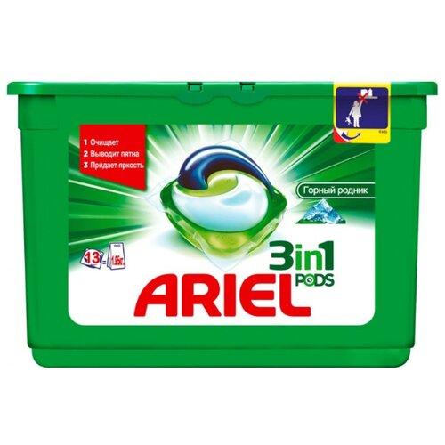 Капсулы Ariel PODS 3-в-1 Горный родник, пластиковый контейнер, 13 шт