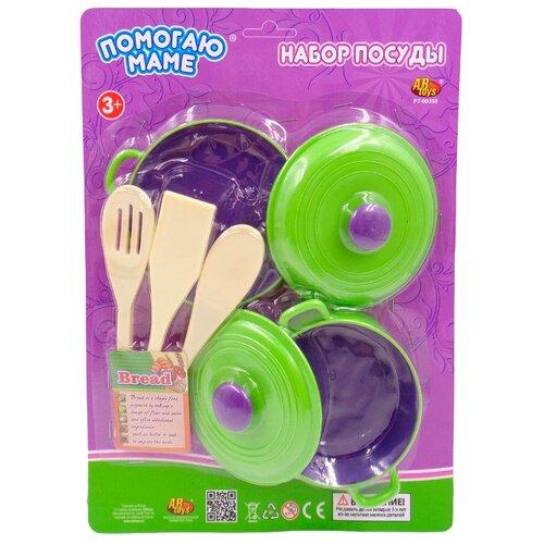Купить Набор посуды ABtoys Помогаю маме PT-00398 зеленый/бежевый, Игрушечная еда и посуда