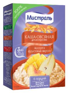 Каша Мистраль овсяная Фруктовое ассорти 240 г, 240 г.