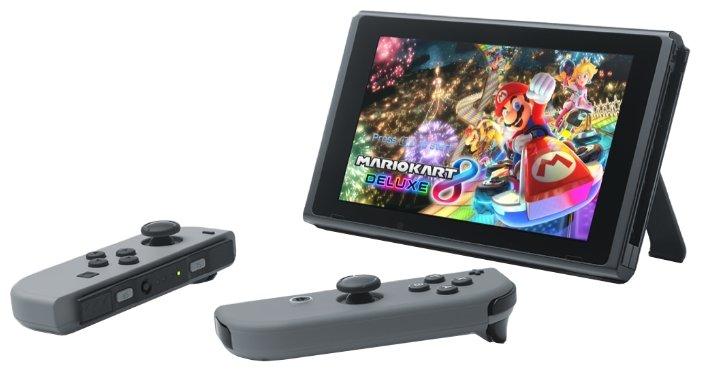 Игровая приставка NINTENDO Switch, серый + Mario Kart 8 Deluxe + Arms