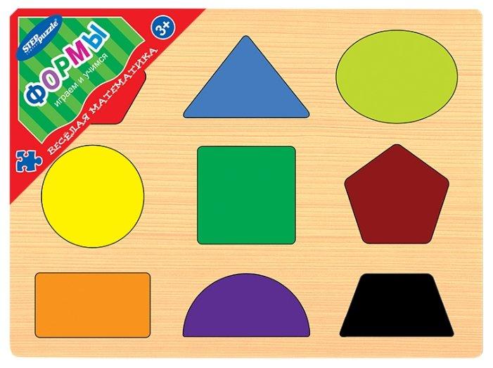 Рамка-вкладыш Step puzzle Весёлая математика Формы (89207), 9 дет.