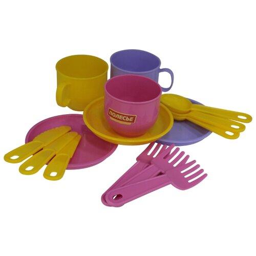 """Набор посуды Полесье """"Минутка"""" на 3 персоны 9561 желтый/розовый/фиолетовый"""