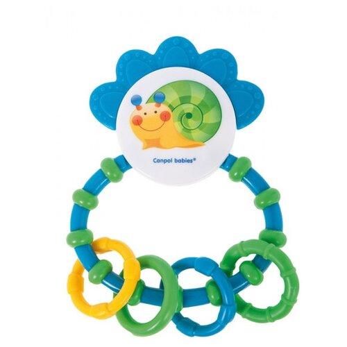 Прорезыватель-погремушка Canpol Babies Happy garden Line Rattle with Soft Bite Teether 56/137 голубой/зеленый canpol babies погремушка прорезыватель ключи с символами цвет голубой зеленый