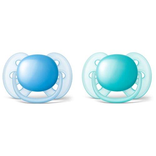 Пустышка силиконовая ортодонтическая Philips AVENT Ultra Soft SCF212/22 6-18 м (2 шт.) голубой/бирюзовый