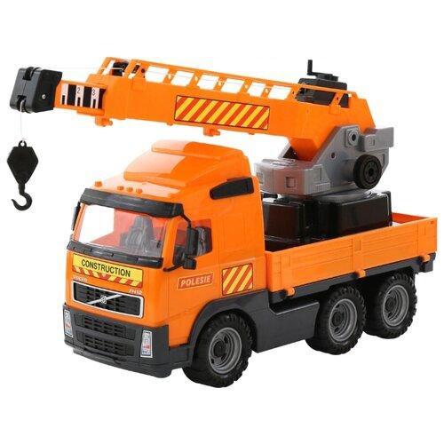 Купить Автокран Полесье Volvo с поворотной платформой (58324) 73 см оранжевый, Машинки и техника