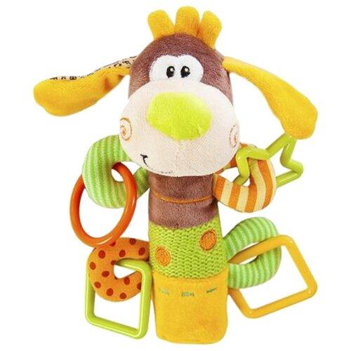Фото - Прорезыватель-погремушка Жирафики Пёсик Том 93558 коричневый/зеленый/желтый погремушка пёсик