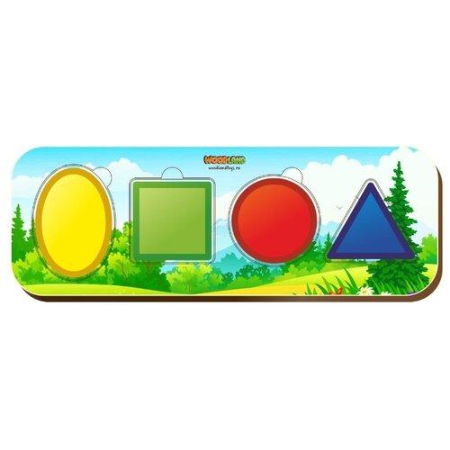 Рамка-вкладыш Woodland Геометрические фигуры (011908), 4 дет.