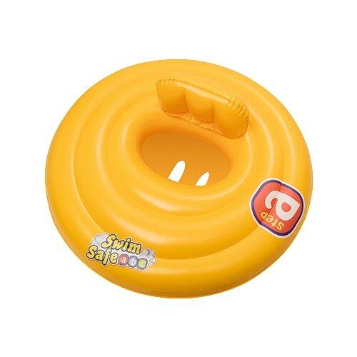 Круг для плавания Bestway трехкамерный Swim Safe ступень A, 32096 BW желтый bestway плотик для плавания c сиденьем и спинкой swim safe ступень a bestway