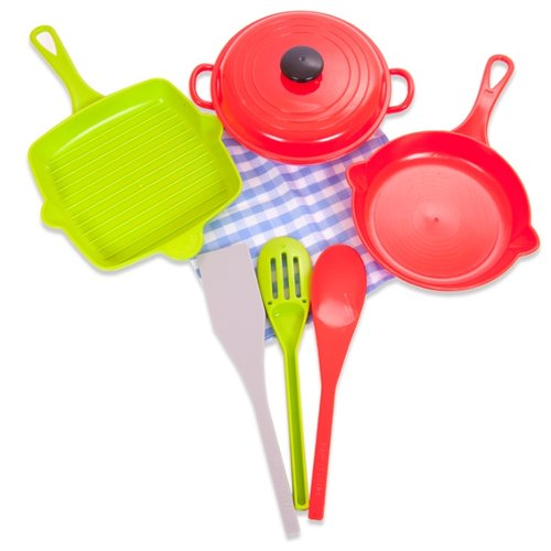 Купить Набор посуды ABtoys Помогаю маме PT-00561 (WK-B9747) красный/зеленый, Игрушечная еда и посуда