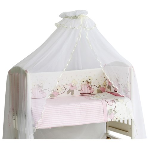 Pituso комплект в кроватку Мишки (6 предметов) розовый бортики и постельный комплект в кроватку valena мишки тедди