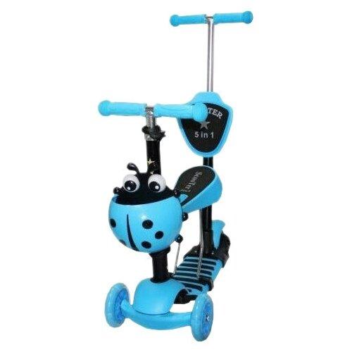 Фото - Детский самокат-беговел 21st Scooter 5 в 1 Божья Коровка, голубой беговел 700kids a1 сompetitive small scooter черно желтый cr02a