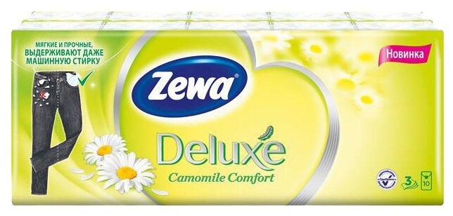 Носовые платки трехслойные ZEWA deluxe ромашка 10 уп по 10 шт