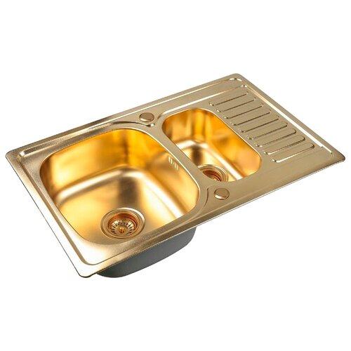 Фото - Врезная кухонная мойка 78 см ZorG PVD SZR-78-2-50 BRONZE бронза врезная кухонная мойка 78 см zorg szr 78 2 51 r bronze бронза
