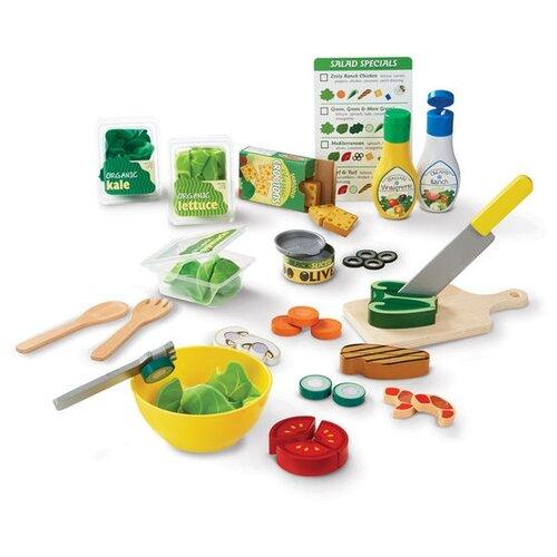 Купить Набор продуктов с посудой Melissa & Doug Slice & Toss Salad Set 9310 разноцветный, Игрушечная еда и посуда