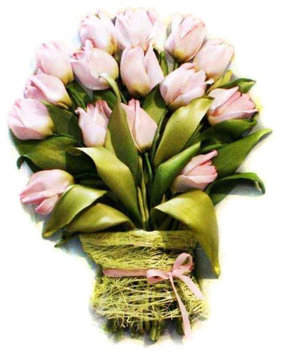Цветной Вышивка лентами Тюльпаны 20 х 30 см (VL003)