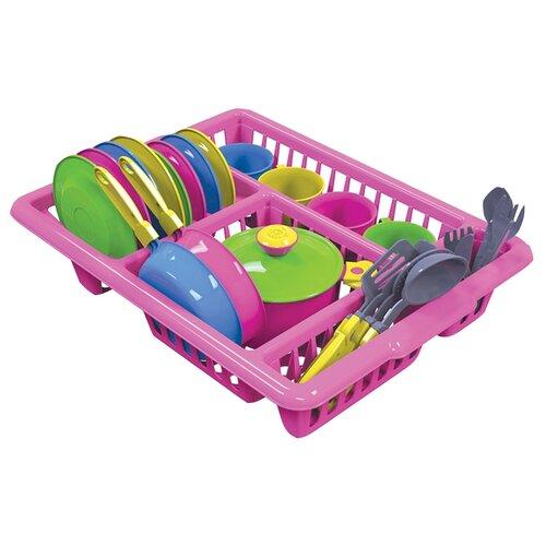 Купить Набор посуды ТехноК 3282 красный/белый/голубой/фиолетовый, Игрушечная еда и посуда