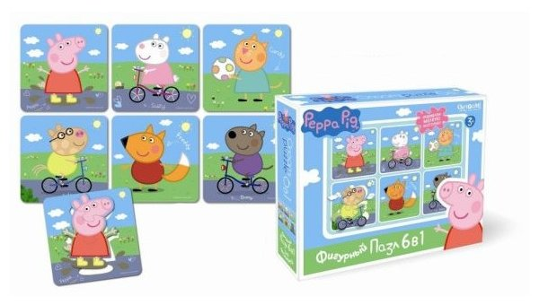 Набор пазлов Origami Peppa Pig На прогулке 6 в 1 (01564)