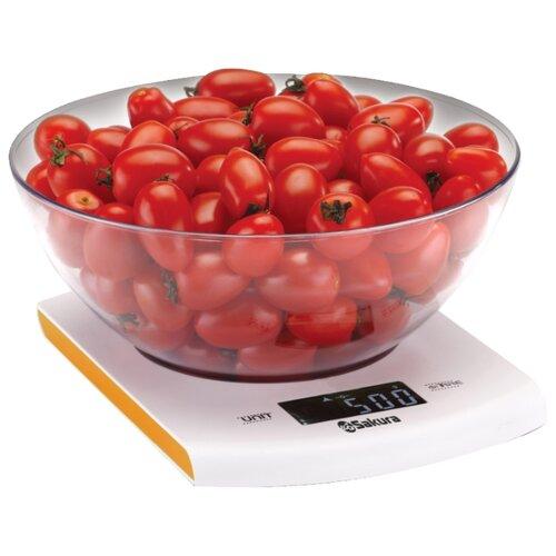 Кухонные весы Sakura SA-6068 белый/оранжевый