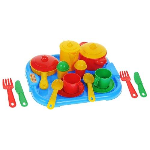 Купить Набор посуды Полесье Настенька с подносом на 2 персоны 3940 разноцветный, Игрушечная еда и посуда