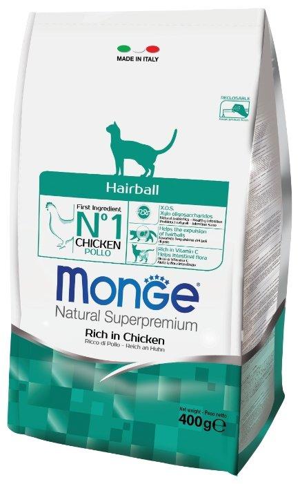 Корм для кошек Monge Natural Superpremium для вывода шерсти, с курицей