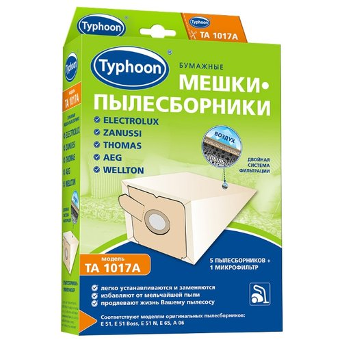 Тайфун Бумажные мешки-пылесборники TA 1017A белый 5 шт.