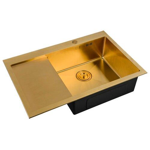 Фото - Интегрированная кухонная мойка 78 см ZorG SZR-7851-R BRONZE бронза врезная кухонная мойка 78 см zorg szr 78 2 51 r bronze бронза