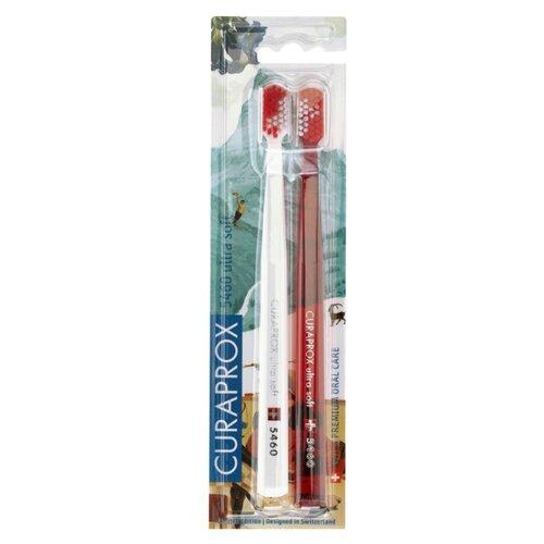 Зубная щетка Curaprox CS 5460 Ultra Soft Swiss, белый / красный, 2 шт. где купить зубную щетку curaprox 5460