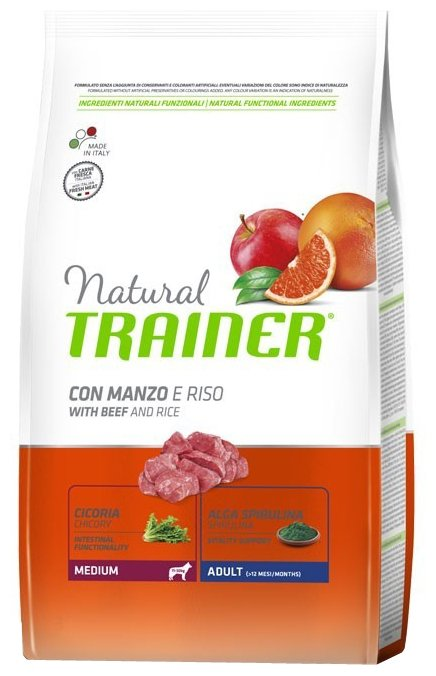 Корм для собак TRAINER Natural Adult Medium Beef and rice dry