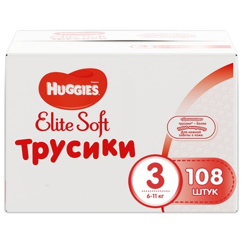 Купить Huggies Elite Soft трусики 3 (6-11 кг) 108 шт., Подгузники