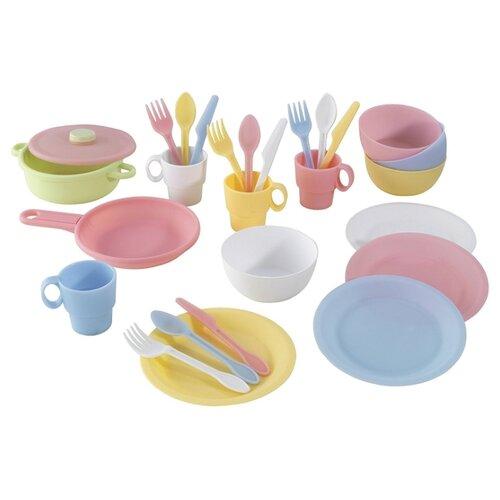 Набор посуды KidKraft Пастель 63027 белый/розовый/голубой набор посуды kidkraft делюкс 63319 голубой зеленый розовый