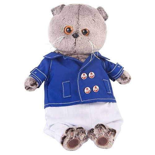 Купить Мягкая игрушка Basik&Co Кот Басик в синем кителе 25 см, Мягкие игрушки