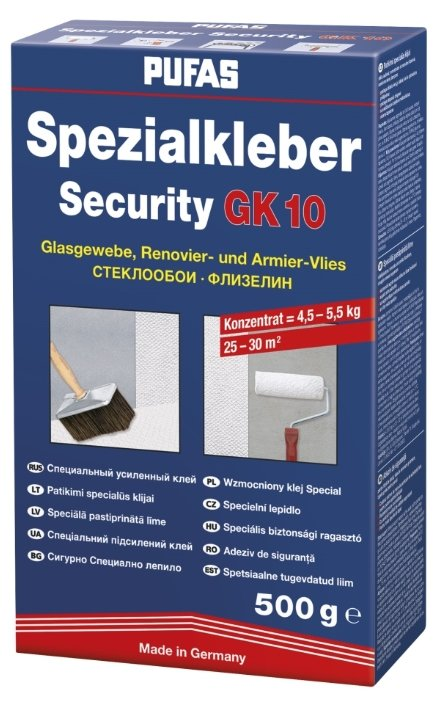 Клей для обоев PUFAS Security GK 10 для стекловолокна и флизелина