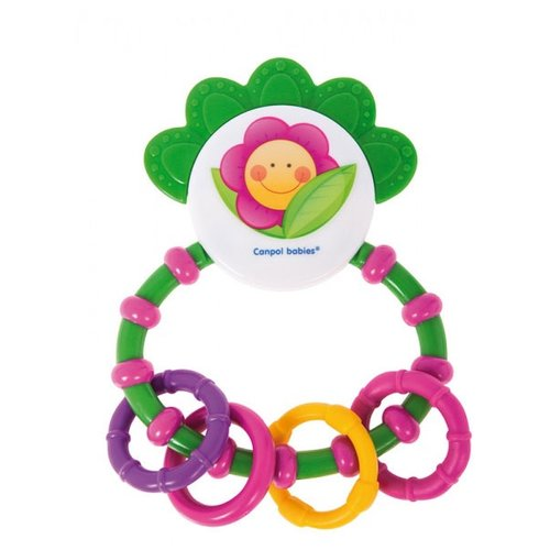 Прорезыватель-погремушка Canpol Babies Happy garden Line Rattle with Soft Bite Teether 56/137 зеленый/розовыйПогремушки и прорезыватели<br>