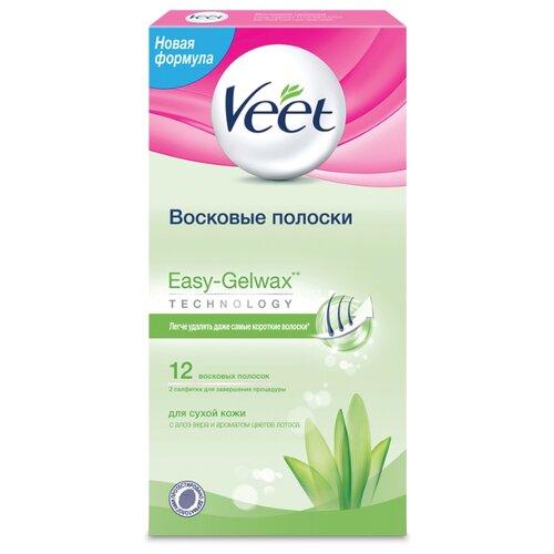 Veet Восковые полоски Easy Gelwax для сухой кожи 12 шт. полоски восковые veet алоэ вера д сухой кожи 12шт