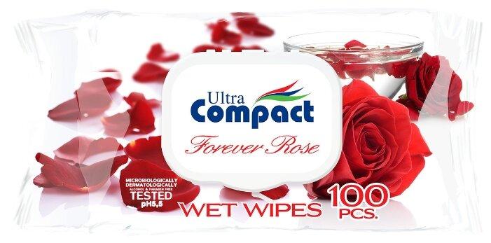 Влажные салфетки Ultra Compact с ароматом розы