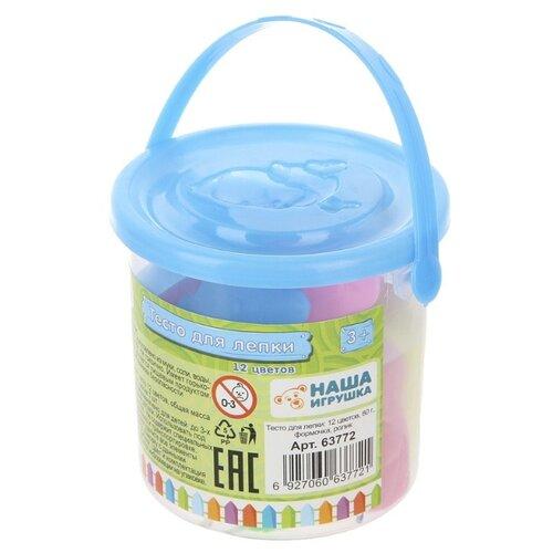 Купить Масса для лепки Color Puppy 12 цветов 80 г с формочками и роликом (63772), Пластилин и масса для лепки