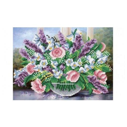 Купить Рыжий кот Набор алмазной вышивки Букет с розами и сиренью (ASG007) 40х30 см, Алмазная вышивка